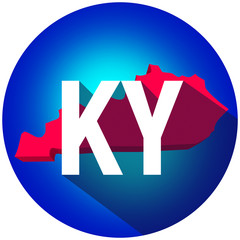 Kentucky KY Letters Abbreviation Red 3d State Map Long Shadow Ci