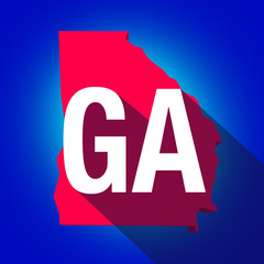 Georgia GA Letters Abbreviation Red 3d State Map Long Shadow Cir