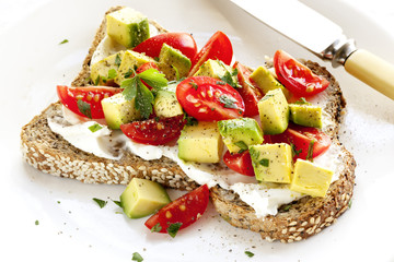 Toast with Cream Cheese Avocado and Tomato
