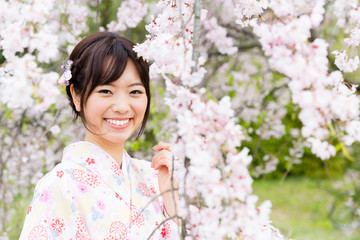 japanese woman and cherry blossoms