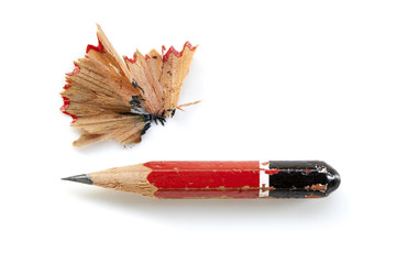 Pencil Stub and Shavings Isolated