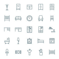 Interior vector icons set