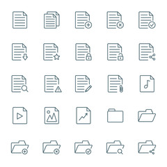 Documents and folders vector icons set