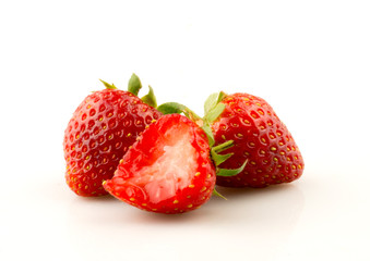 Strawberry on white background, selective focus.