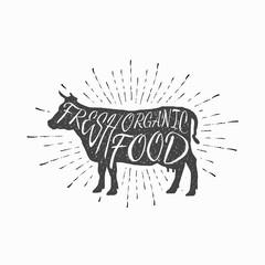 Cow. Farm animal icon, butchery concept isolated on white