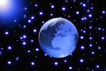 Globe of the World.Europe, Africa