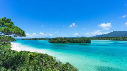 Tropisch eilandstrand en helder blauw water, Kabira Bay, Ishigaki-jima, Okinawa, Japan