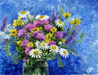 Painting - a bouquet of wild flowers in a glass jar