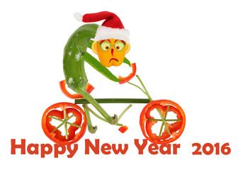 Funny pepper on a bicycle. Happy New Year