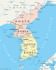 North Korea and South Korea political map with capitals Pyongyang and Seoul. Korean peninsula, national borders, important cities, rivers and lakes. English labeling and scaling. Illustration.