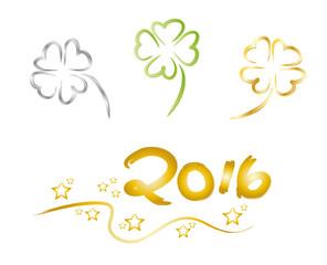 Silvester - Drei vierblättrige Kleeblätter - Frohes Neues Jahr - Glückwunschkarte zum Jahreswechsel 2016