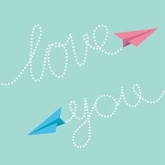 Pink and blue origami paper planes. Dash line text Love you in the sky. Greeting card.  Flat design.