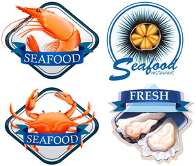 Food logo with fresh seafood