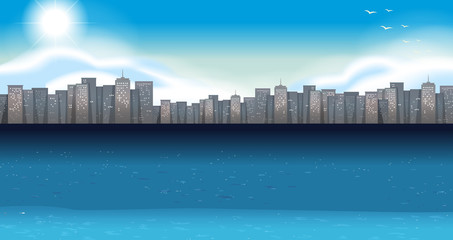 Ocean scene with buildings in background