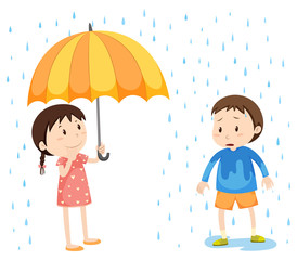 Girl and boy in the rain