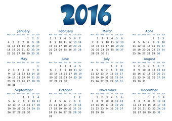 simple editable vector calendar 2016