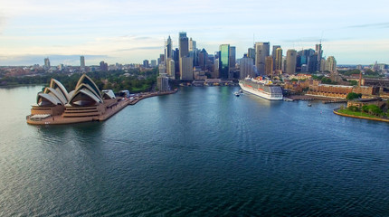 Sydney Harbour Bridge at night, aerial view