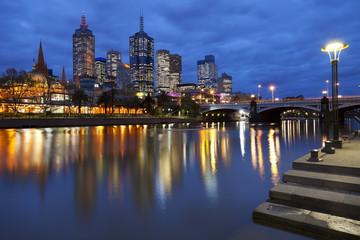 Skyline of Melbourne, Australia across the Yarra River at night