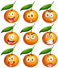 Fresh oranges with facial expressions