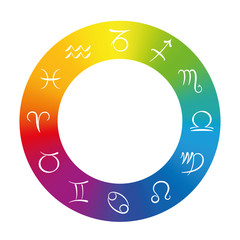 Radix - Astrology symbols in a rainbow gradient color ring. Isolated vector illustration on white background.
