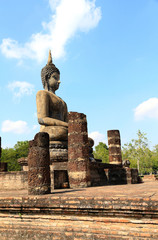 Old art and Buddha image at sukhothai historical park ,Thailand