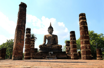 Old art and Buddha image at sukhothai historical park ,Thailand