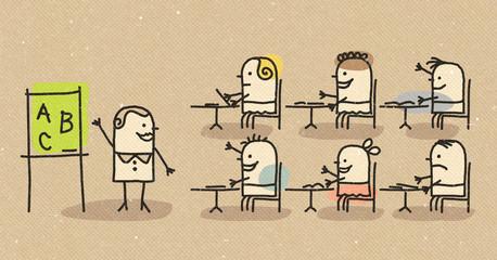 children and teacher at school