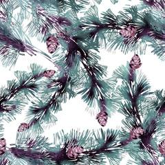 Seamless Pattern of Pine Tree Twigs