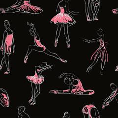 vector sketch of girls ballerina seamless pattern