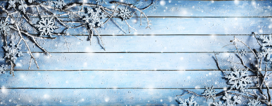 Winter Background - Snowy Branches On Plank With Snowflakes