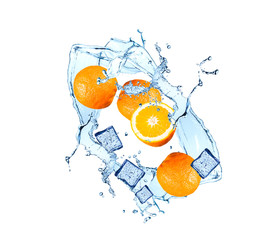 Water splash with fruits and ice cube isolated on white backgroud. Fresh orange