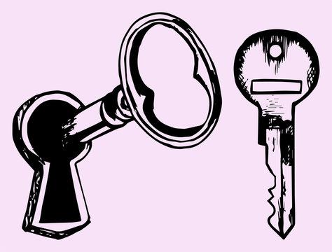 key in keyhole, doodle style isolated on pink background