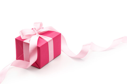 Pink Gift Box With Ribbon