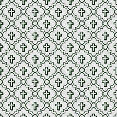 Hunter Green and White Cross Symbol Tile Pattern Repeat Backgrou