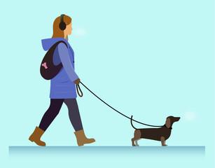 girl with dog walking