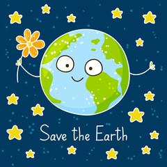 Cute cartoon Earth on space background