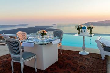 Beautiful table and sea sunset