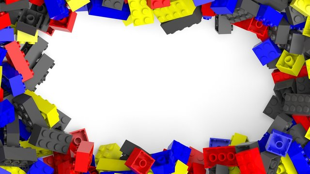 Frame from colorful lego blocks, isolated on white background.