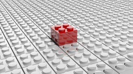 Connected white lego blocks with one red standing out, abstract background.