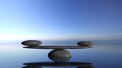 Printed roller blinds Zen Balancing Zen stones in water with blue sky and peaceful landscape.