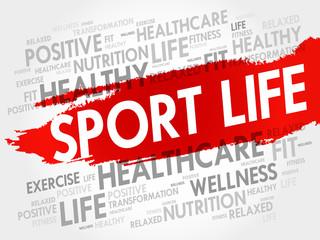 Sport Life word cloud, health concept