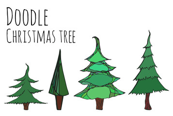 Set of hand-drawn doodle Christmas trees for your design