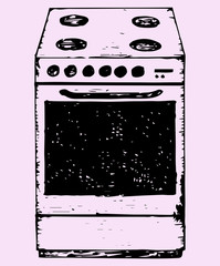 oven, doodle style, sketch illustration