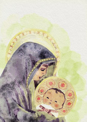 Virgin Mary and child Jesus. Watercolor painting.