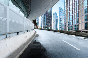 empty road and modern building