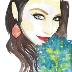 Beautiful girl illustration made with watercolor