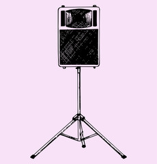 audio speaker on a stand, doodle style, hand drawn