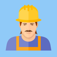 Builder or worker character. Man face flat icon.
