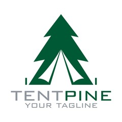 Tent, Pine, Adventure Logo Design Vector