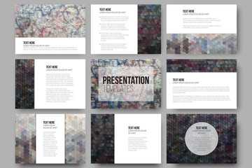 Set of 9 templates for presentation slides. Graffiti wall. Abstract multicolored backgrounds. Geometrical patterns. Triangular and hexagonal style vector illustration